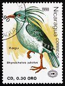 Postage Stamp Nicaragua 1990 Kagu, Endemic Bird