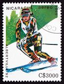 Postage Stamp Nicaragua 1989 Slalom Skiing, Olympic Games, Alber