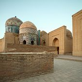 Oriental complex Shah i Zinda at sunrise. Samarkand, Uzbekistan