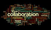 stock photo of collaboration  - Collaboration concept in word tag cloud isolated on black background - JPG