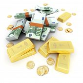 A fortune in euro notes, ingots and gold coins