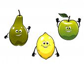 Green pear, apple and yellow lemon fruits