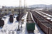 image of murmansk  - Railroad cargo station in Murmansk city - JPG