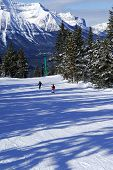 Downhill skiing in Canadian Rocky mountains with scenic view
