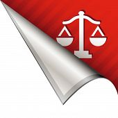 Scales of justice on peeling corner tab
