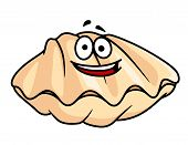 image of scallop shell  - Cartoon clam shell or mussel with a happy toothy smile isolated on white for seafood design - JPG