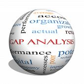 stock photo of benchmarking  - Gap Analysis 3D sphere Word Cloud Concept with great terms such as growth money capital and more - JPG