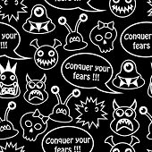 Cartoon seamless black background with different monsters