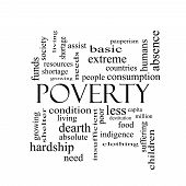 Poverty Word Cloud Concept In Black And White