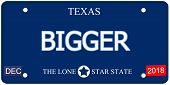 stock photo of texas star  - A fake imitation Texas License Plate with the word BIGGER and The Lone Star State making a great concept - JPG