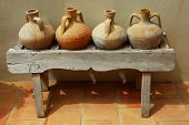 Ceramic vases amphoras as home decoration at mediterranean villa