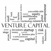Venture Capital Word Cloud Concept In Black And White