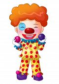 stock photo of chibi  - Cute cartoon illustration of a clown isolated on white - JPG