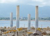 Ancient Columns. Archaeological Excavations Of The Ancient City.