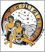 Twins Boys And The Zodiac Sign.horoscope Circle.illustration