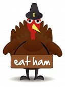 Turkey wearing eat ham sign anti-turkey