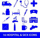 hospital and sick icon set eps10
