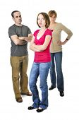 image of disrespect  - Teenage girl rolling her eyes in front of angry parents - JPG