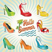 Colorful Fashion Women's High Heel Shoes.hello Summer