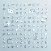 paper icons set of finance events office internet