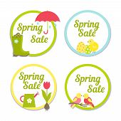 Set of four circular Spring Sale labels