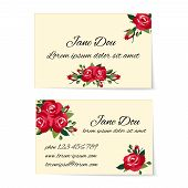 pic of credential  - Two different business card templates decorated with stylish bunches of red roses with foliage and buds in an elegant design wit copyspace for contact details  marketing and credentials - JPG