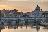 Ponte Sant'angelo (bridge Of Hadrian) In Rome, Italy,