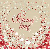 Heart Background With Flowers.spring Time