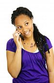 Isolated portrait of teenage girl with cell phone