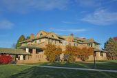 University Campus Building And Fall Foliage
