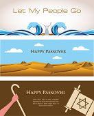 stock photo of biblical  - Three Banners of Passover Jewish Holiday - JPG