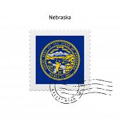 foto of nebraska  - State of Nebraska flag postage stamp on white background - JPG