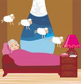 Old Lady Counting Sheep To Fall Asleep
