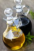 Oil and balsamic vinegar glass bottles with spouts