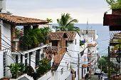 Street leading to Pacific ocean in Puerto Vallarta, Mexico