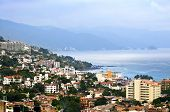 Viiew from above at  Puerto Vallarta, Mexico with Pacific ocean