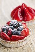 Closeup of fancy gourmet fresh fruit dessert tarts