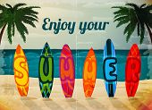 Summer vacation surfboard poster