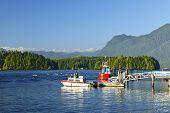 Boats at dock in Tofino on Pacific coast of British Columbia, Canada