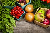 stock photo of farmers  - Fresh farmers market fruit and vegetable on display - JPG