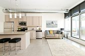 picture of stool  - Kitchen and living room of loft apartment - JPG
