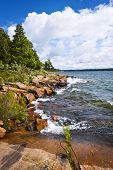 Rocky lake shore of Georgian Bay in Killbear provincial park near Parry Sound, Ontario Canada