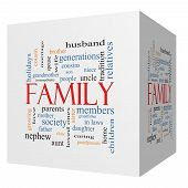 stock photo of niece  - Family 3D cube Word Cloud Concept with great terms such as loving parents home and more - JPG