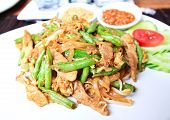 Stir-fried Noodles With Pork And Cow-pea.