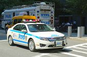 NYPD car providing security in World Trade Center area