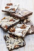 Assorted chocolate caramel bark pieces for sweet dessert