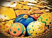 Easter Eggs,pphoto In Retro Style