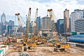 View To The Construction Sites Near  The Harbor Of Victoria In Hong Kong.