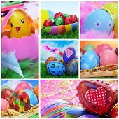 collage of different pictures of easter eggs