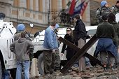 ESZTERGOM, HUNGARY - NOVEMBER 10: Angelina Jolie gives instructions to actors dressed as peace keepe